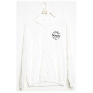 Brandy Melville White zipup Hooded windbreaker